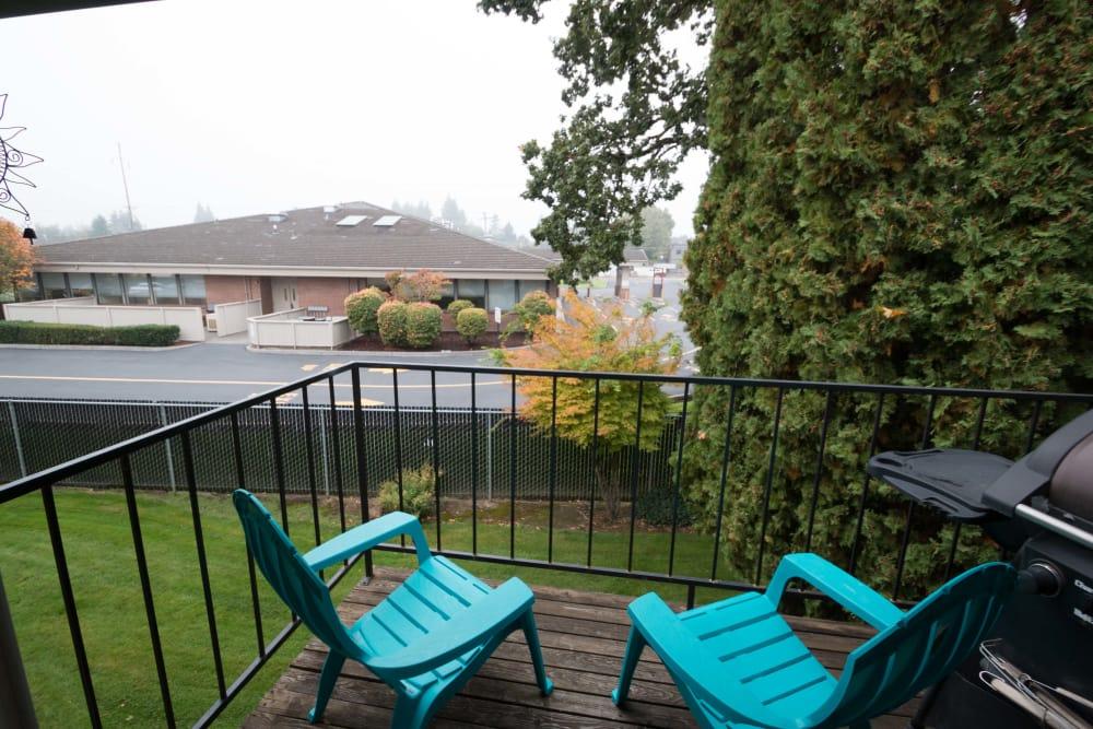 Cozy balcony at apartments in Vancouver, Washington