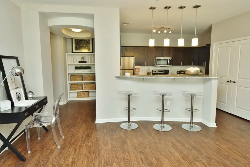 Enjoy apartments with a spacious living room at Park Rowe Village at Perkins Rowe