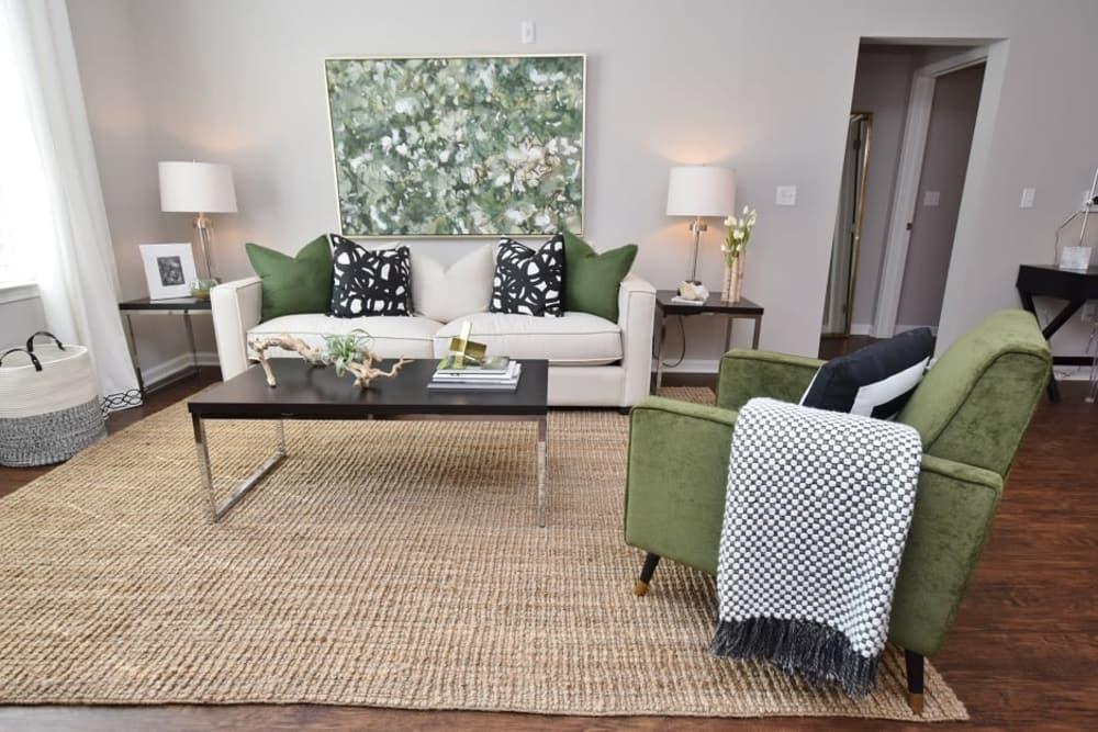 Spacious living room at Park Rowe Village at Perkins Rowe in Baton Rouge, Louisiana