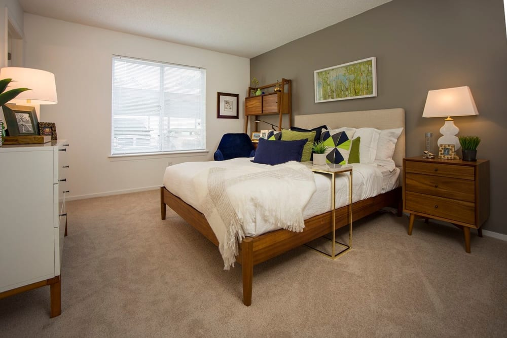 Master bedroom at Briar Cove Terrace Apartments in Ann Arbor, MI