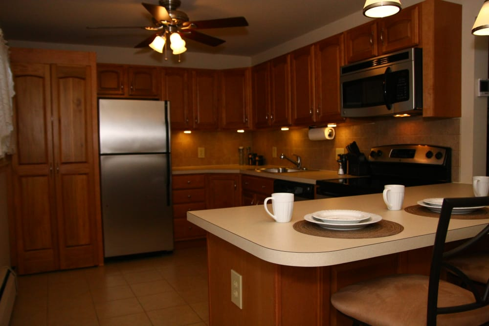 View of the kitchen at Riverwood Commons