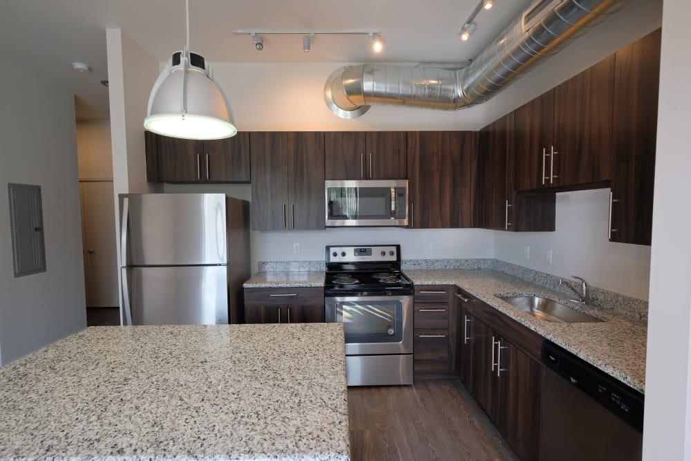 Nice kitchen appliances in Starkweather Lofts Plymouth, Michigan