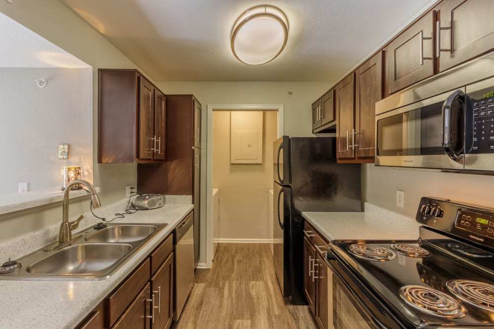 Upgraded kitchen at Willow Run Village Apartments