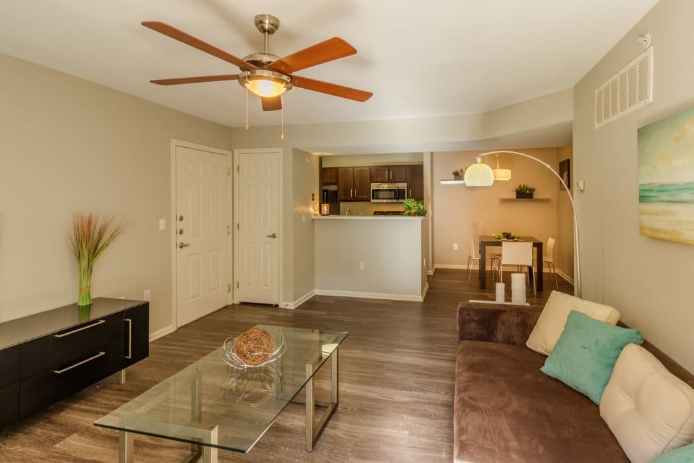 Spacious living room at Willow Run Village Apartments