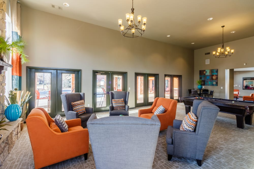 Clubhouse seating at Willow Run Village Apartments