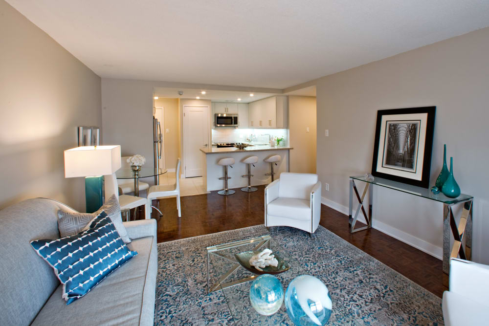 Spacious living room at Residences on Bloor