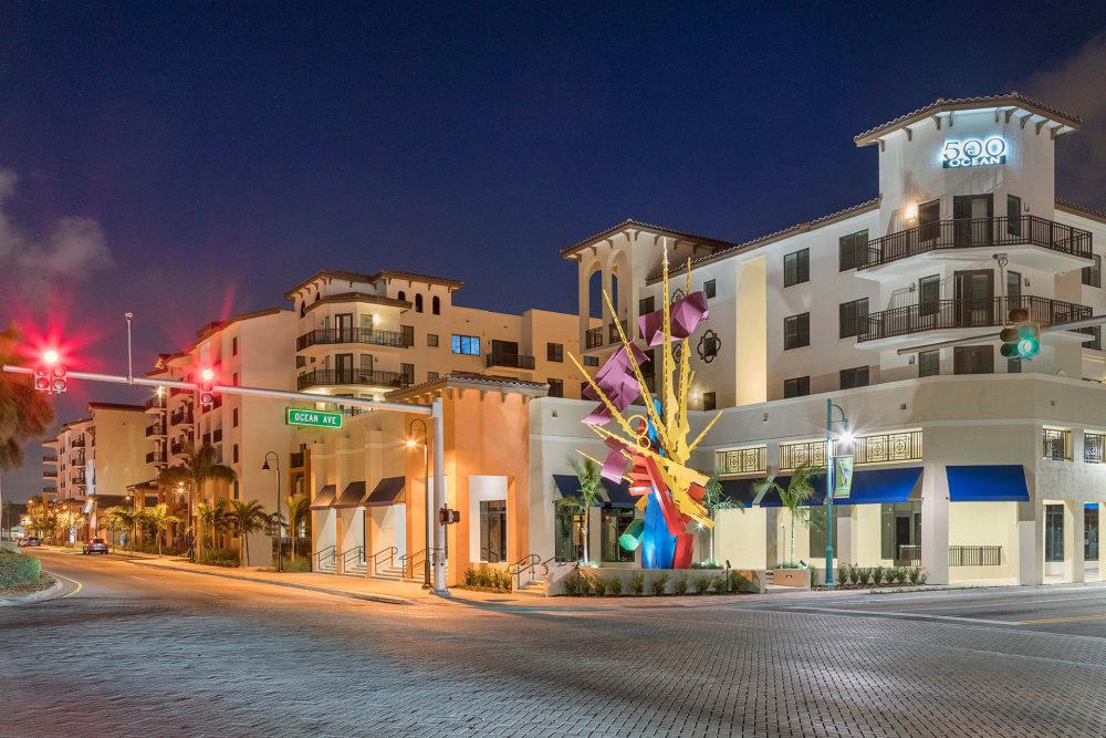 Rendering of 500 OCEAN Apartments at night in Boynton Beach, FL