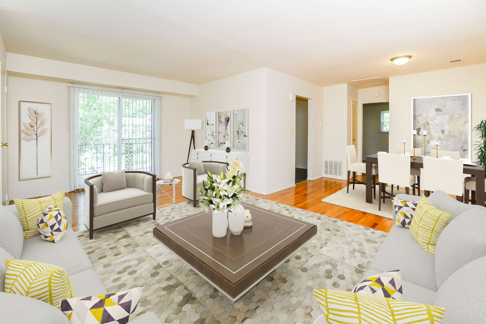 Beautiful Living Room at Post & Coach Apartment Homes in Freehold, New Jersey