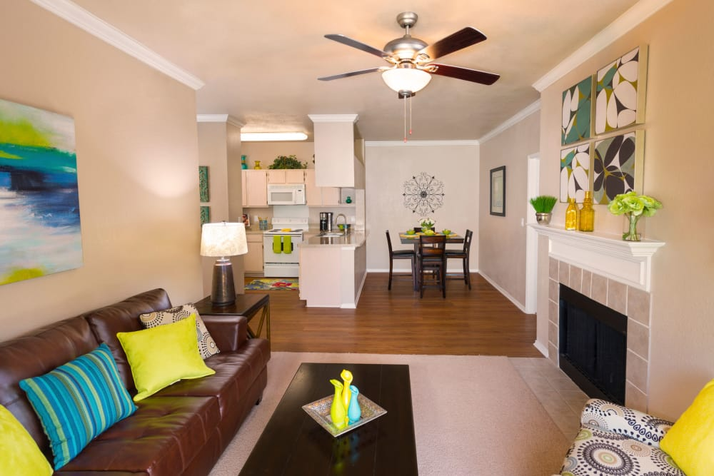 Spacious living room at Ballantyne Apartments in Lewisville, Texas