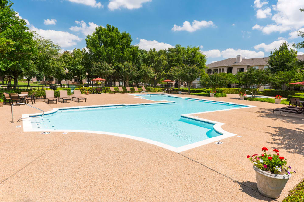 Modern swimming pool at Ballantyne Apartments in Lewisville, Texas