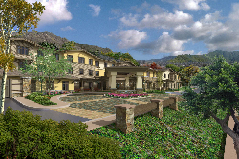 Rendering of landscaping around Sage Mountain in Thousand Oaks, California