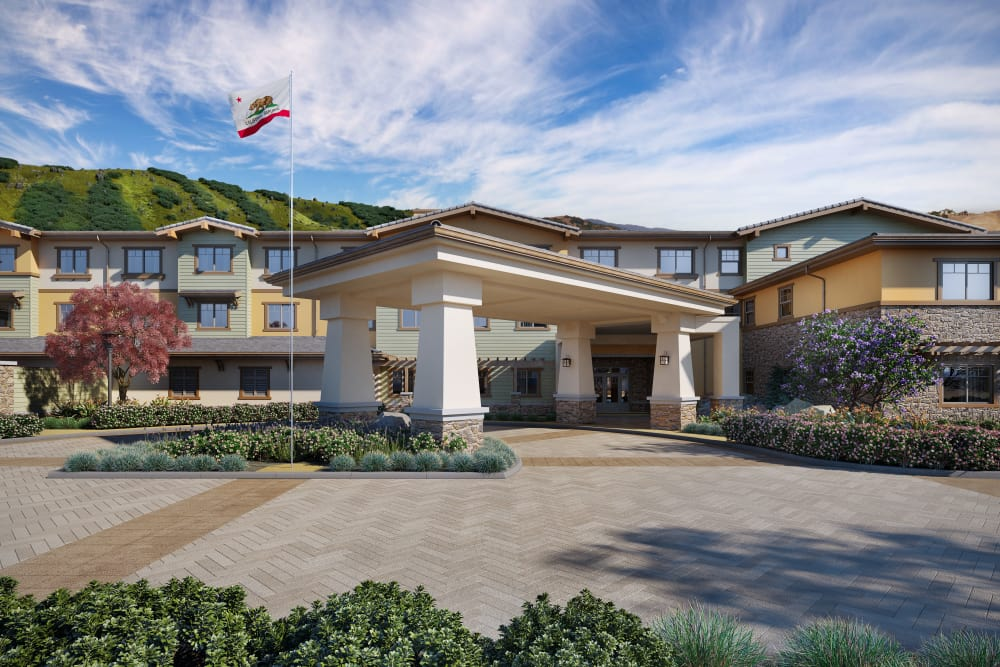 Rendering of front exterior entrance of Sage Mountain in Thousand Oaks, California