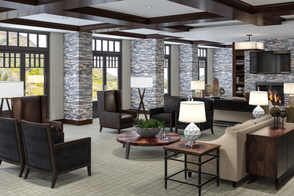 Rendering of sitting area at Sage Mountain in Thousand Oaks, California