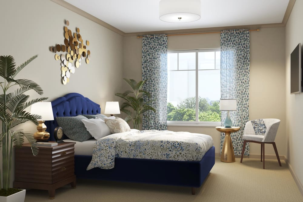 Naturally lit model bedroom at Sage Mountain in Thousand Oaks, California