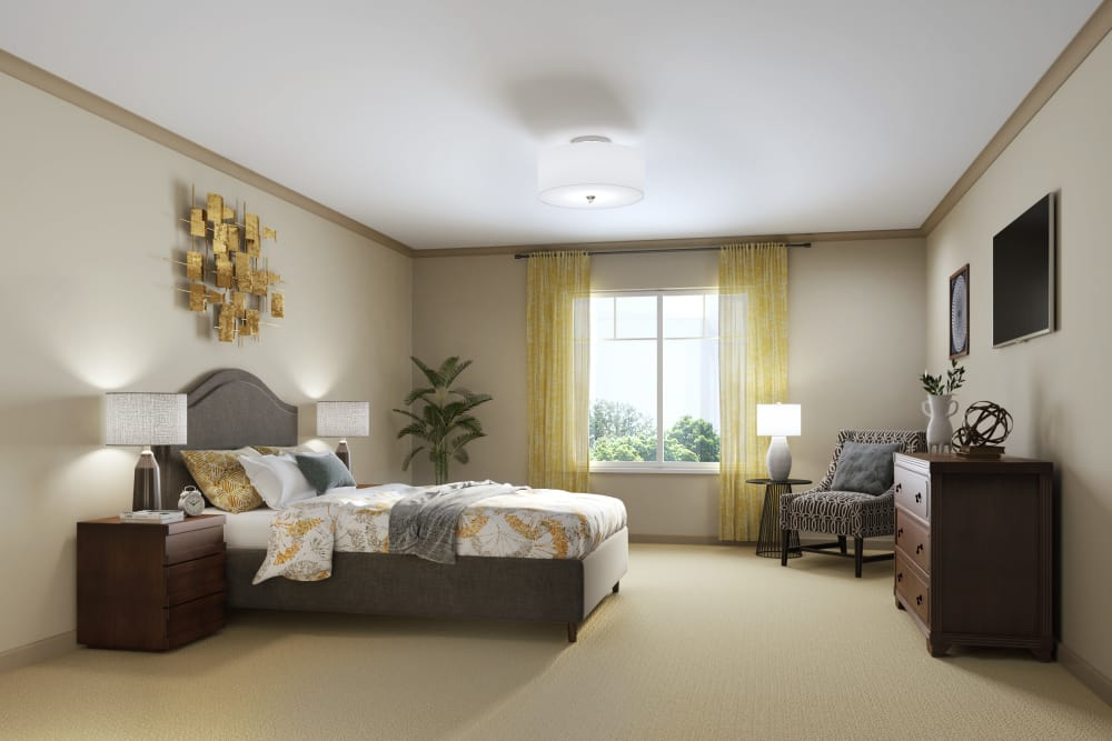 Assisted living studio bedroom at Sage Mountain in Thousand Oaks, California
