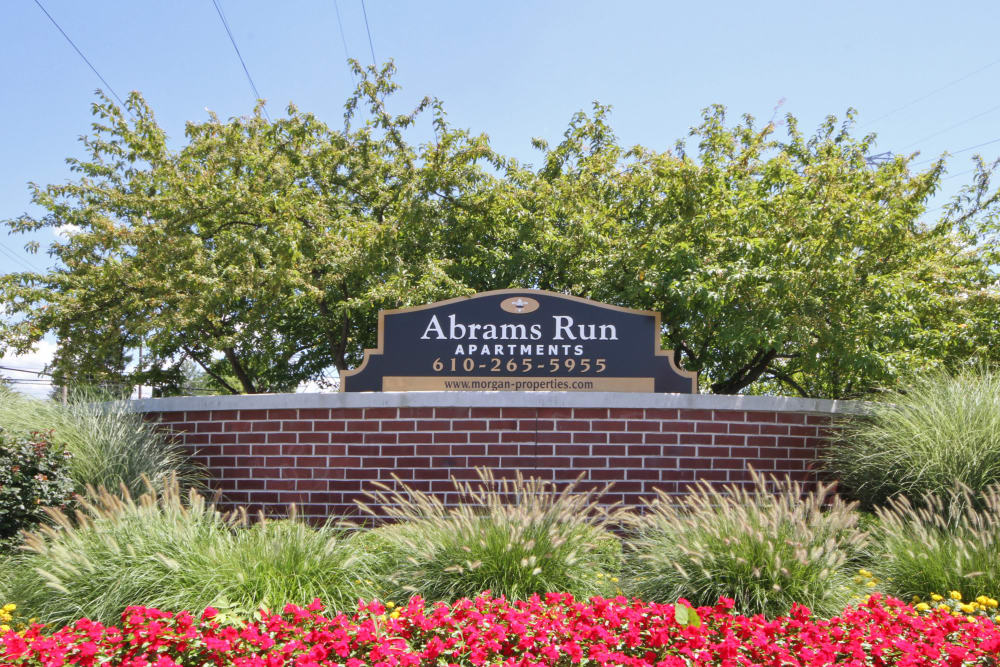 Entry Sign at Abrams Run Apartment Homes in King of Prussia, Pennsylvania