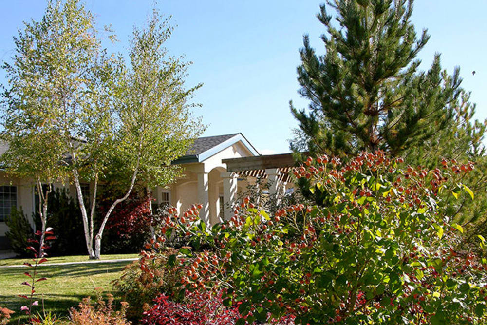 Beautiful landscaping at Arbors Memory Care in Sparks, NV