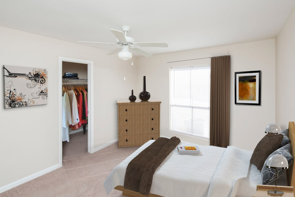 furnished model bedroom at Morgan Bay in Houston, Texas