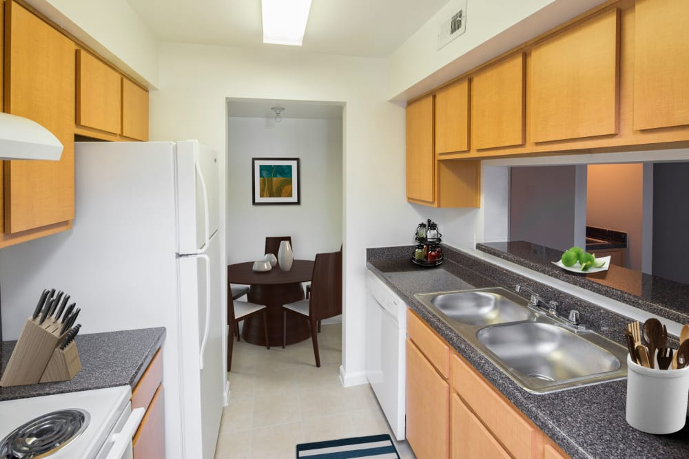 furnished kitchen at Morgan Bay in Houston, Texas