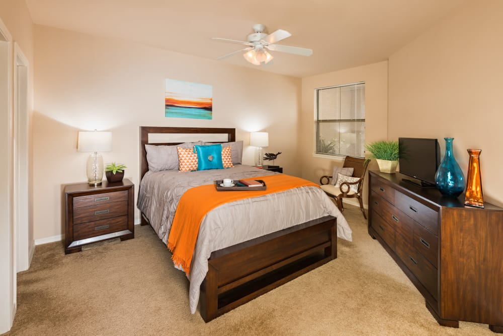 Cozy bedroom at Villas on Hampton Avenue in Mesa, Arizona
