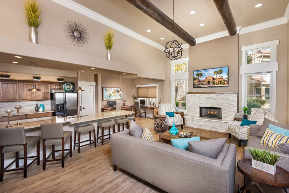 Modern clubhouse interiors at Villas on Hampton Avenue in Mesa, Arizona