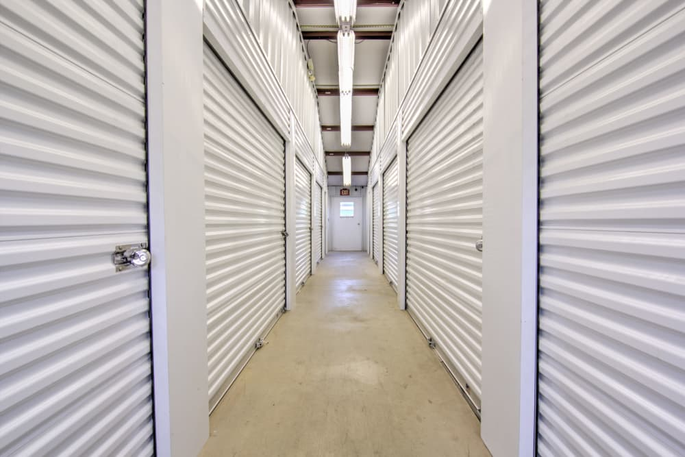 Hallway of indoor units at Prime Storage in Winston-Salem, North Carolina