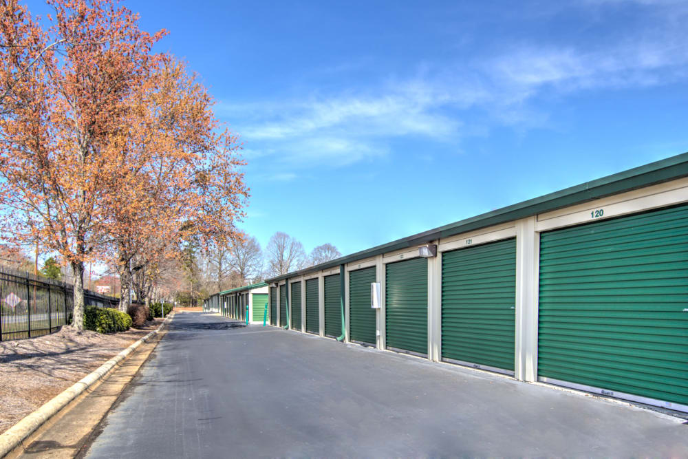 Row of outdoor units at Prime Storage in Winston-Salem, North Carolina