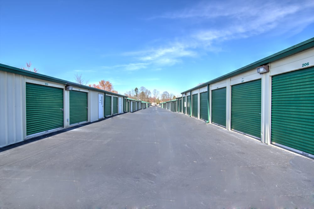 Wide driveways at Prime Storage in Winston-Salem, North Carolina