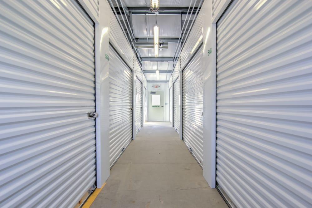 Hallway of units at Prime Storage in Winston-Salem, North Carolina