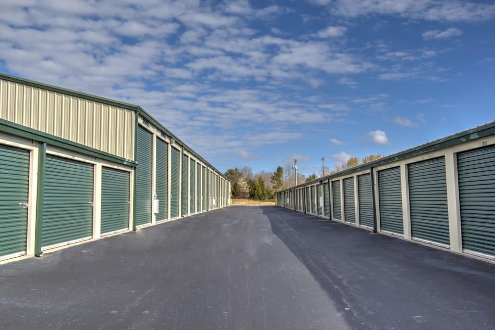 Wide driveways at Prime Storage in Winston-Salem, North Carolina