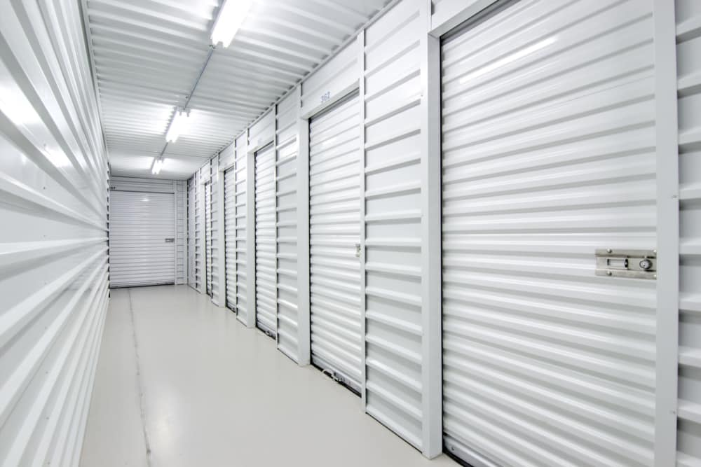 Hallway of storage units at Prime Storage in Bolivia, North Carolina