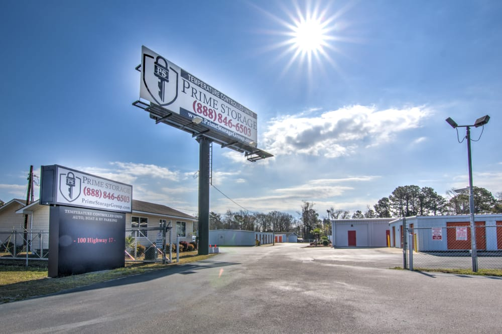 Gated entrance at Prime Storage in Little River, South Carolina