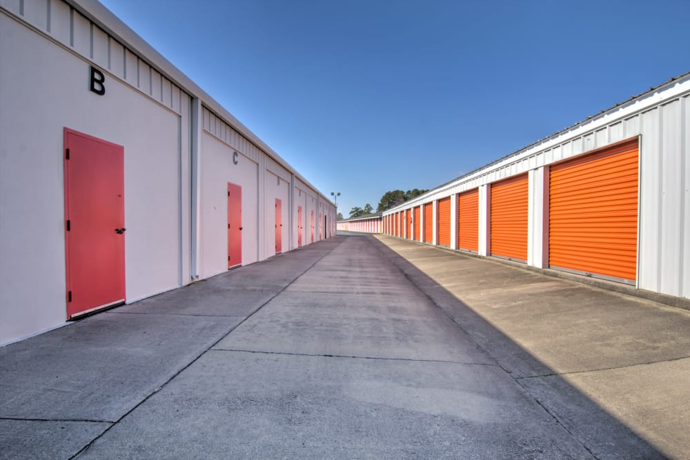 Wide drive ways at Prime Storage in Little River, South Carolina