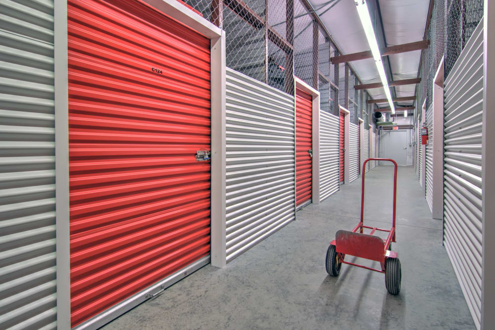 Hallway of units at Prime Storage in Longs, South Carolina