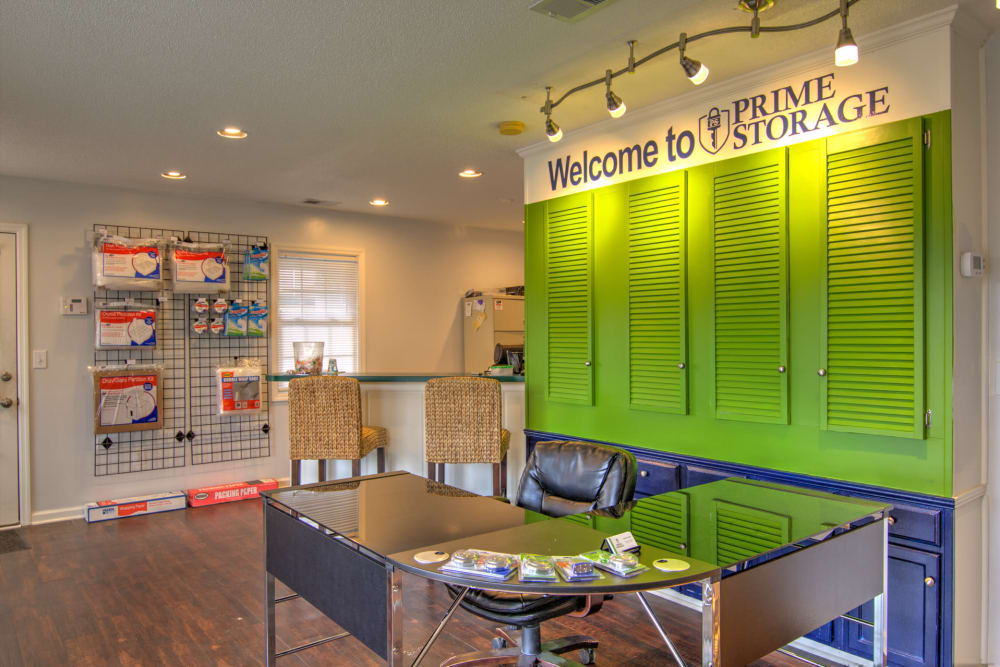 Interior leasing office at Prime Storage in Columbia, South Carolina