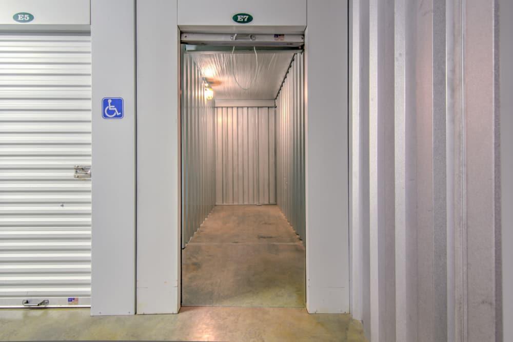 An interior storage unit at Prime Storage in Aiken, South Carolina