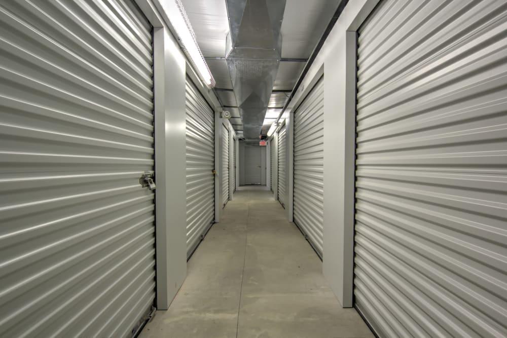 Hallway of storage units at Prime Storage in Columbia, South Carolina