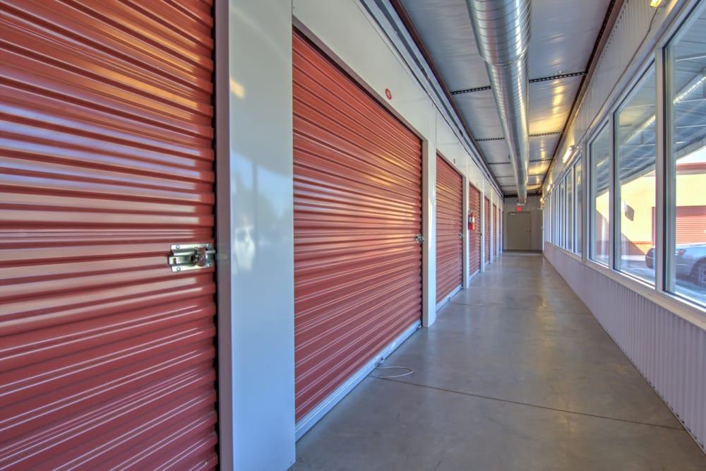 Hallway of indoor units at Prime Storage in Aiken, South Carolina