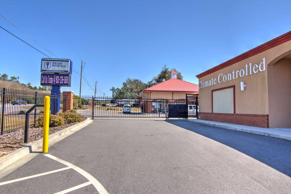 Gated entrance at Prime Storage in Aiken, South Carolina