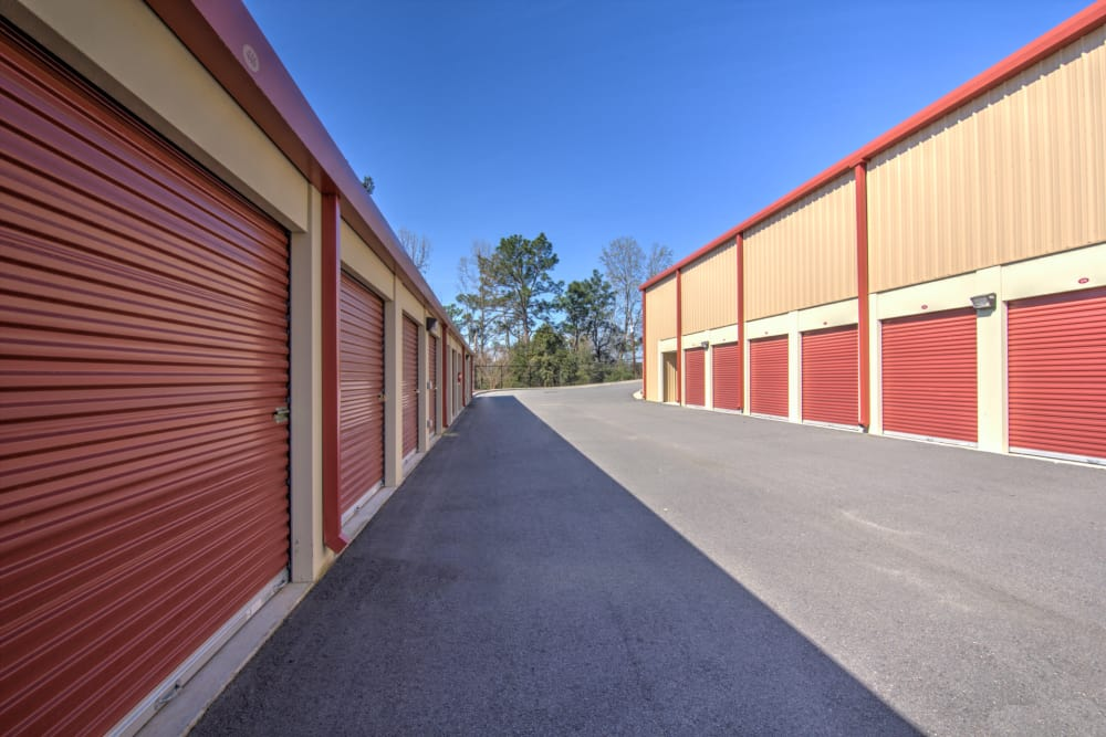Wide driveways at Prime Storage in Aiken, South Carolina