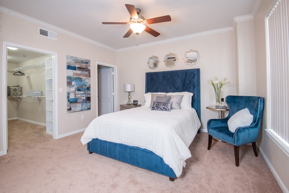 Our apartments in Farmers Branch, Texas showcase a beautiful bedroom