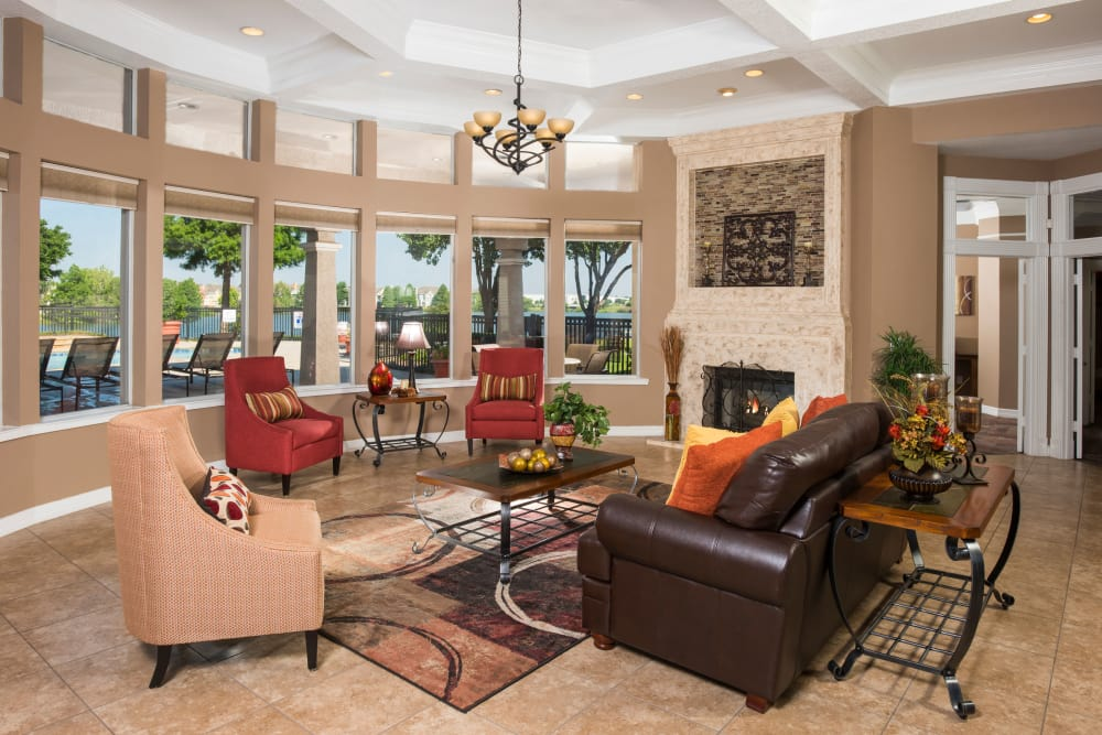 Beautiful living room  in our club house at Crescent Cove at Lakepointe in Lewisville, Texas
