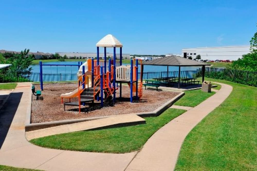A playground that is great for entertaining at Crescent Cove at Lakepointe in Lewisville, Texas