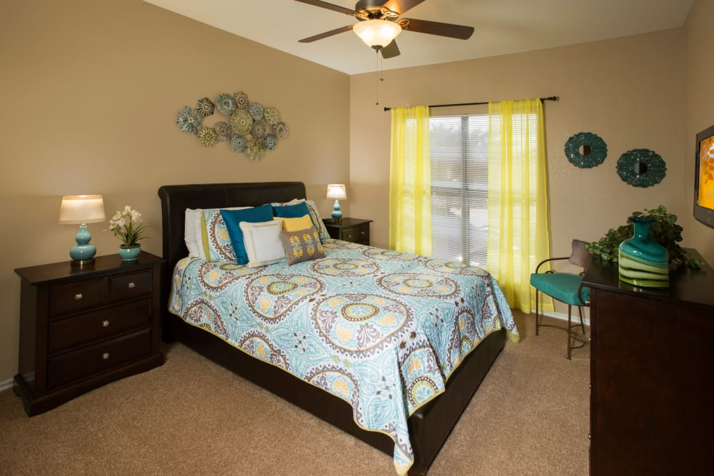 Cozy bedroom at apartments in McKinney, Texas