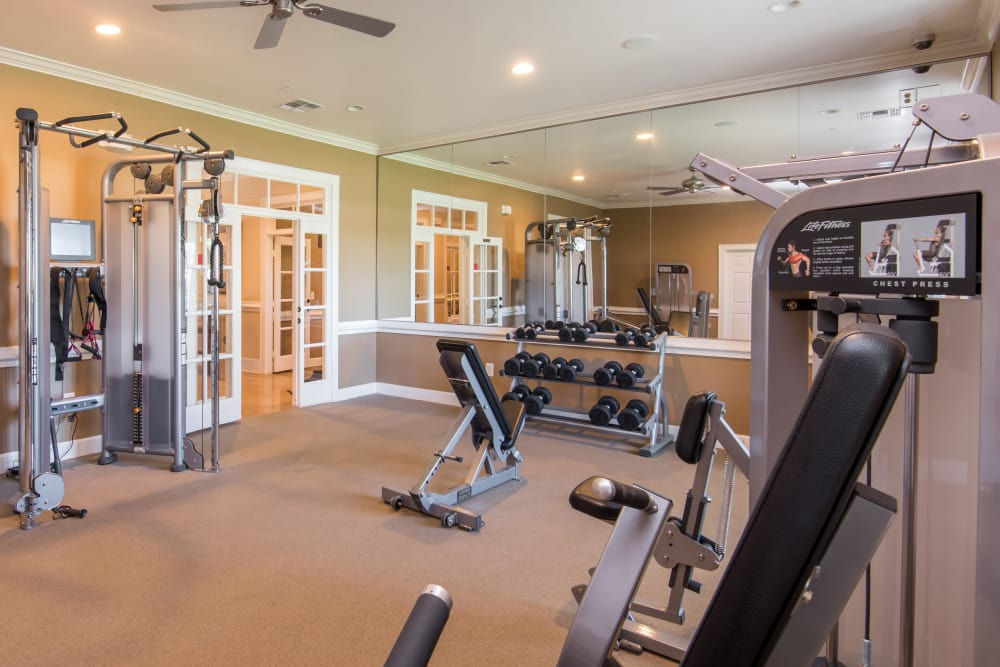 Unique fitness center at Estancia at Ridgeview Ranch in Plano, Texas