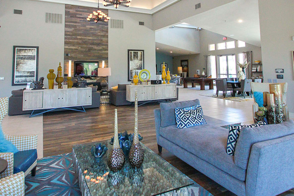 The bright and open clubhouse at Estates of Richardson in Richardson, Texas