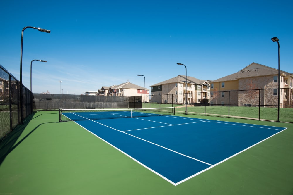 Unique tennis court at apartments in Richardson, Texas
