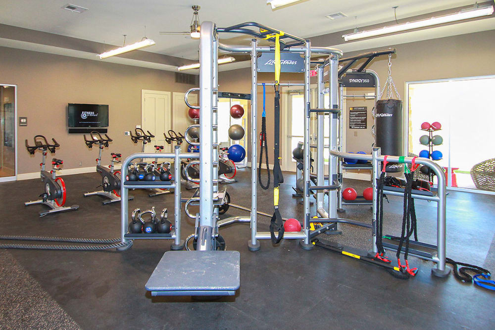 Spacious fitness center at Estates of Richardson in Richardson, Texas