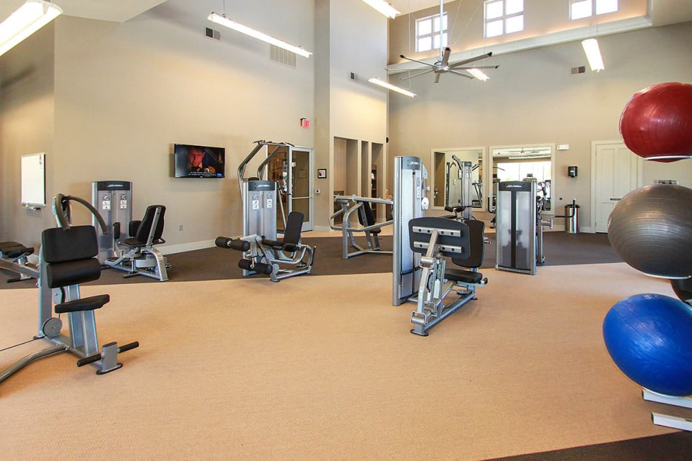 Modern fitness center at Estates of Richardson in Richardson, Texas