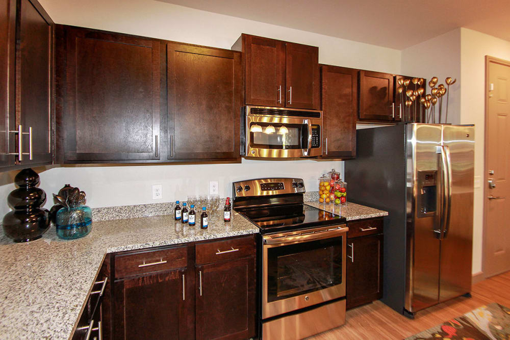 Naturally well-lit kitchen at apartments in Richardson, Texas
